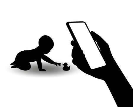 A silhouette of a smartphone in the hand of a mother of playing baby. The concept of monitoring the health of the child using new computer technologies and applications for smartphones