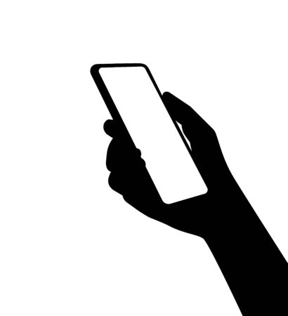 A silhouette of a smartphone in person hand. Using new computer technologies and applications for mobil phones