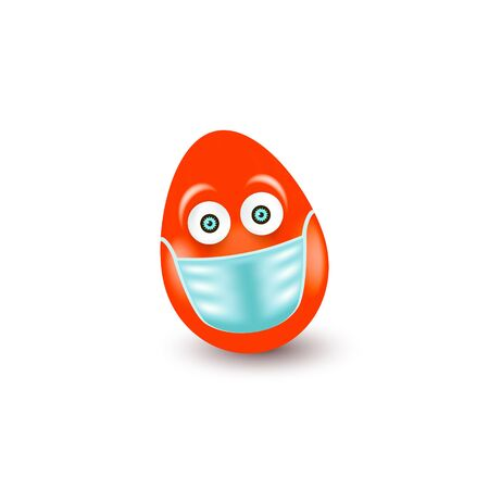 Red Easter Egg with medical antiviral mask isolated on white background. Easter holiday concept at coronavirus pandemic