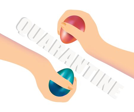 Hands with dyed Easter eggs separated by the word Quarantine isolated on white background. Easter holiday concept during coronavirus pandemic