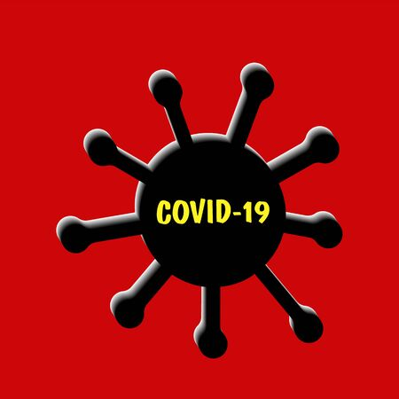 Virus Covid-19 on red background. Coronavirus cell in blood and human circulatory system.