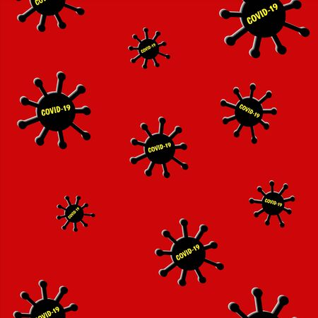 Seamless pattern Virus Covid-19 on red background. Coronavirus cells in blood and human circulatory system.