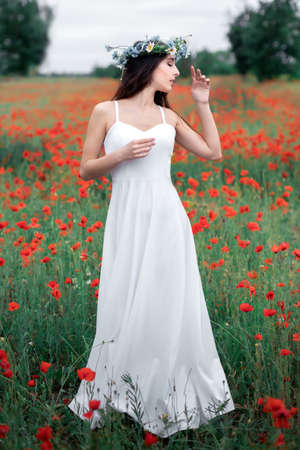 Portrait of a pretty young woman on the background of a blooming poppy field. Woman with a wreath of wildflowers on her head.