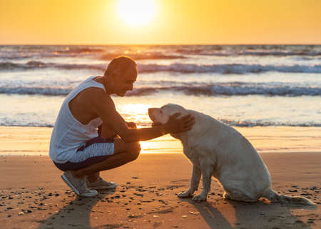 Cyprus - November 11, 2019: Person and dog sitting together on the seashore. Friendship between dog and man