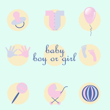 niples: conjunto de art�culos de beb� en plana estilo. conjunto de cuerpo, globos, sonajero, cochecito, huellas de manos de los ni�os y de los pies, los pezones y la bola Vectores