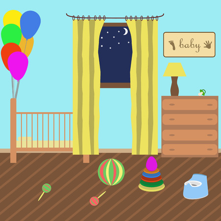 toy chest: childrens room in style flat. various childrens toys. Illustration