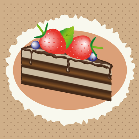 blueberry cheesecake: chocolate cake with strawberries and blueberries,  sweet dessert, cake with fruit and cream