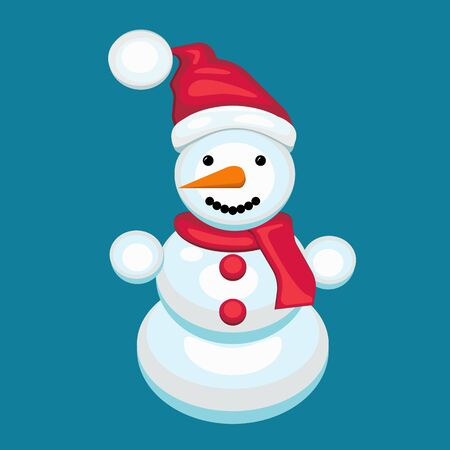 a cheerful snowman with a scarf in a red cap . carrot nose . eye buttons.
