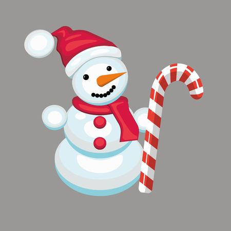 carrot nose: snowman with candy cane. a cheerful snowman with a scarf in a red cap . carrot nose . eye buttons. Illustration