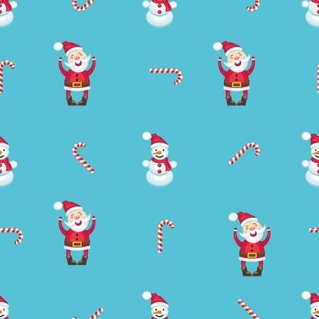 nosed: seamless pattern with Santa Claus in a red dress, snowman and candy cane. Illustration
