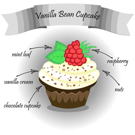 vanilla cake: design Vector frame with cake with raspberries. chocolate cake with raspberries , vanilla cream and mint leaves.