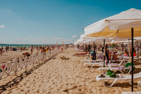 Private hotel sand beach. Hot day. Anapa city. Russia. 1 of august 2020 에디토리얼