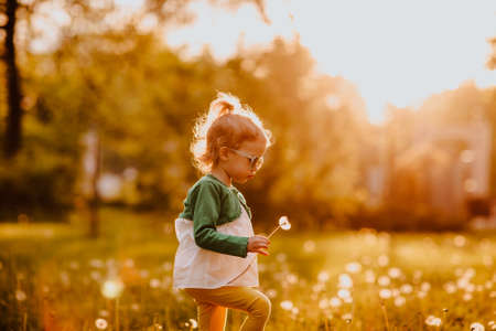 Young cute girl in sun glasses walking on a glade with dandelions. Sunset.