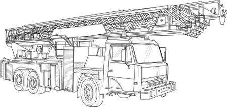 Fire engine truck crane realistic sketch. Vector illustration in black and white for games, background, pattern, decor. Print for fabrics and other surfaces. Coloring paper, page, book. Vektorové ilustrace