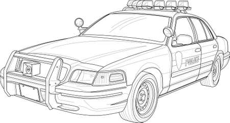 Realistic police car sketch template. Vector illustration in black and white for games, background, pattern, wallpaper, decor. Coloring paper, page, story book.