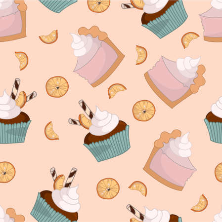 Cartoon decorated cake slices and cupcakes with orange seamless pattern. Colorful vector illustration for games, background, pattern, wallpaper, decor. Print for fabrics and other surface.