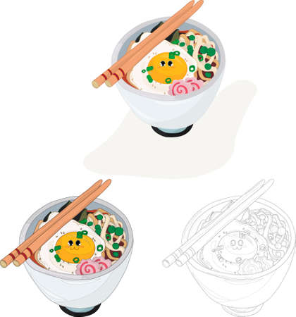 Realistic ramen noodles bowl with smiling egg, green onion and fish cakes template set. Cartoon vector illsutartion in color and black and white for games, pattern, decor. Coloring paper, page, book