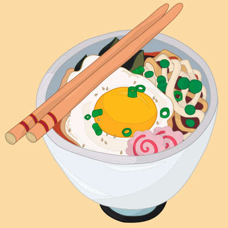Realistic ramen noodles bowl with egg, green onion and fish cakes. Cartoon vector illsutartion on yellow background with outlines for games, background, pattern, decor. Print for fabrics