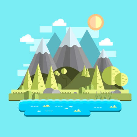 Cartoon flat summer landscape with mountains and trees template. Bright, colorful vector illustration for games, background, pattern, decor, children's story book, fairytail. Print for fabrics
