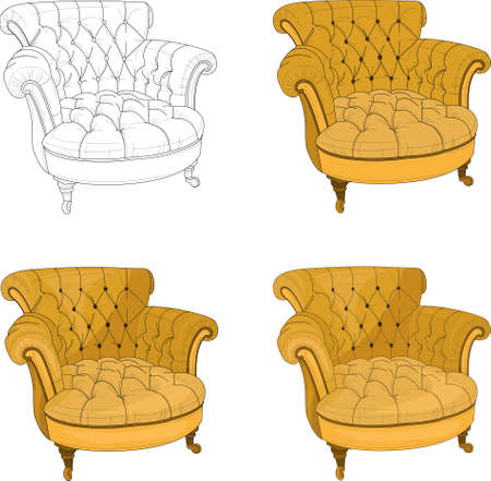 Realistic classic royal yellow armchair template set. Vector illustration in black and white and color for games, background, pattern, wallpaper, decor. Coloring paper, page, story book.