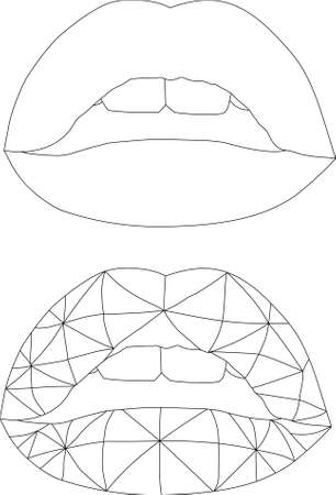 Realistic cartoon geometric lips template set. Vector illustration in black and white for games, background, pattern, decor. Print for fabrics and other surfaces. Coloring paper, page, book Vettoriali