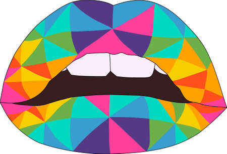 Realistic cartoon geometric colorful lips template. Rainbow vector illustration for games, background, pattern, decor, icons. Print for fabrics and other surfaces.