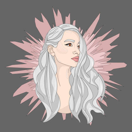 Cartoon girl with long grey silver hair, young woman character close up template. Vector illustration in spikey pastel pink background for games, background, pattern, decor.