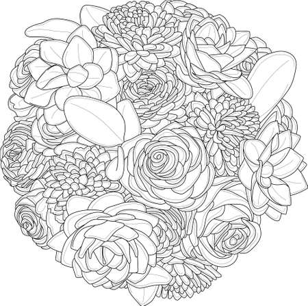 Realistic mix flower bouquet with roses, peony and gerbera daisy sketch template. Vector illustration in black and white for games, background, pattern, decor. Coloring paper, page, story book Ilustração