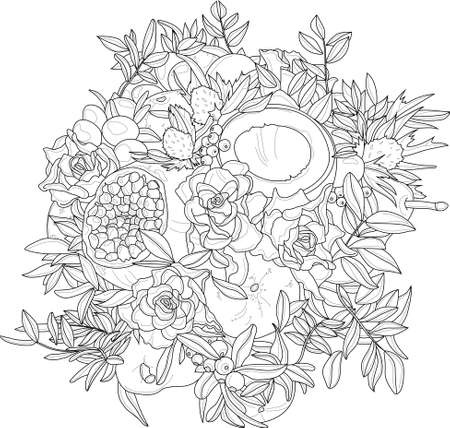 Realistic mix flower and fruit bouquet with roses, coconut, pomegranate and leafs sketch template. Vector illustration in black and white for games, background, pattern, decor. Coloring paper, page Vektorgrafik