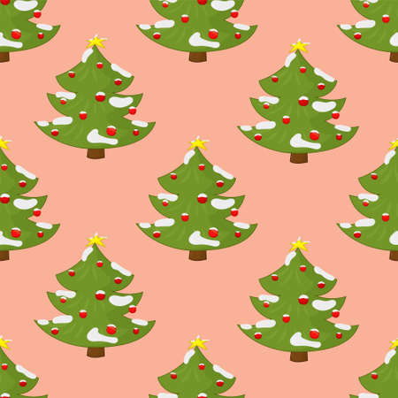 Cartoon decorated Christmas New Year winter trees with snow seamless pattern template. Holiday vector illustration on pastel peach background for games, background, pattern, decor. Print for fabrics Vector Illustration