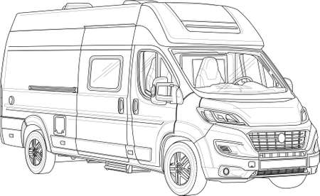 Camper van bus realistic sketch template. Cartoon vector illustration in black and white for games, background, pattern, decor. Print for fabrics and other surfaces. Coloring paper, page, story book