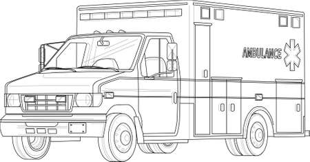 Ambulance emergency car realistic sketch template. Cartoon vector illustration in black and white for games, background, pattern, decor. Print for fabrics and other surfaces. Coloring paper, page