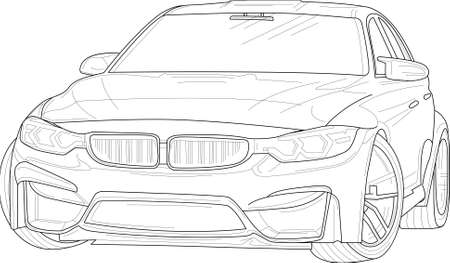 Modern classic car realistic sketch template. Cartoon vector illustration in black and white for games, background, pattern, decor. Print for fabrics and other surfaces. Coloring paper, page, book