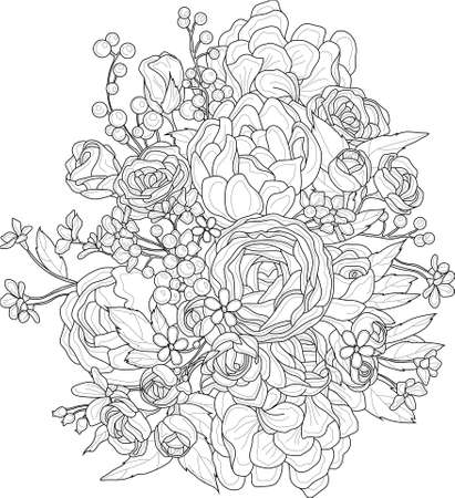 Realistic mix flowers bouquet with roses, peony and small berries and flowers sketch. Vector illustration in black and white for games, background, pattern, decor. Print for fabrics. Coloring paper Ilustración de vector