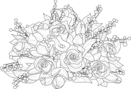 Realistic mix flower bouquet with roses, berry and leafs sketch template. Vector illustration in black and white for games, background, decor. Print for fabrics and other surfaces. Coloring page, book Vetores