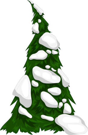 Realistic colorful Christmas New Year winter tree in snow template. Bright holiday cartoon vector illustration for games, background, pattern, decor. Print for fabrics and other surfaces.