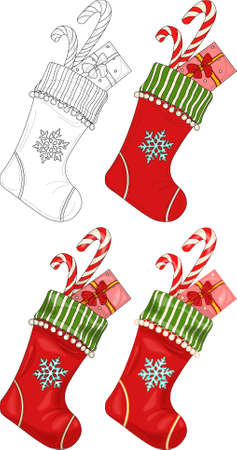 Colorful cartoon Christmas New Year winter socking with snowflake and present sketch template set. Bright vector illustration in color and black and white for games, pattern, decor. Coloring book