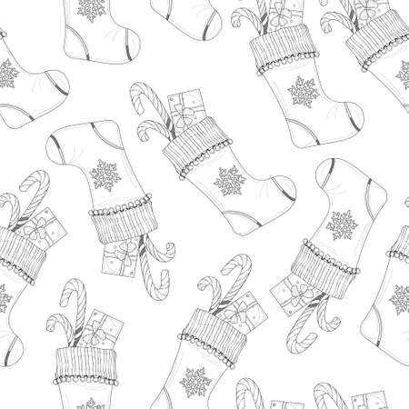 Cartoon Christmas New Year winter socking with snowflake and present sketch template seamless pattern. Vector illustration in black and white for game, background, pattern, decor. Coloring paper, page