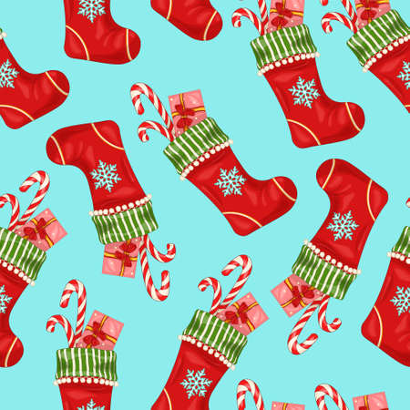 Colorful cartoon Christmas New Year winter socking with snowflake and present template seamless pattern. Bright vector illustration for games, background, pattern, decor. Print for fabrics