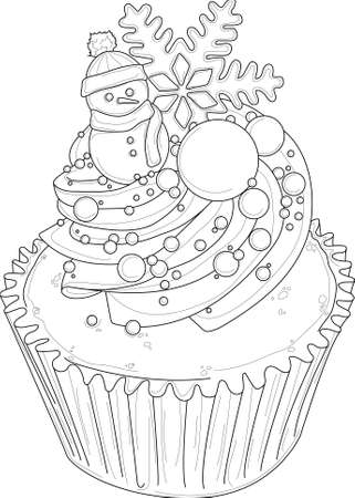 Realistic cupcake with snowman, cream, sprinkles and snowflake sletch template. Vector cartoon illustration in black and white for games, background, pattern, decor. Coloring paper, page, story book.