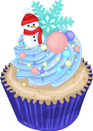 Realistic colorful cupcake with snowman, blue cream, rainbow sprinkles and snowflake template. Bright vector cartoon illustration for games, background, pattern, decor. Print for fabrics
