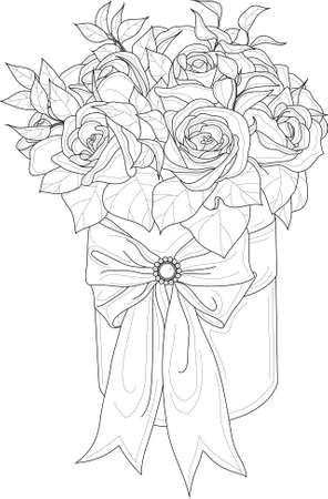 Realistic rose flower bouquet with leafs in box with bow sketch template. Vector illustration in black and white for games, background, pattern, decor. Print for fabrics. Coloring paper, page, book Vectores