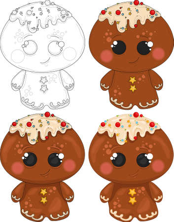 Cartoon colorful cute gingerbread man with sprinkles sketch template set. Christmas vector illustration of bright cookie in color and black and white for games, pattern. Coloring paper, page, book