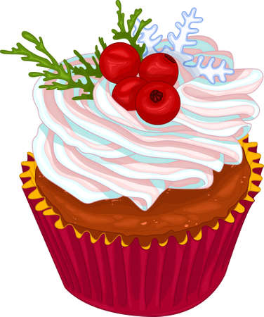 Realistic colorful cupcake with pastel cream, berries, snowflake and pine branch template. Bright Christmas cartoon food vector illustration for games, background, pattern, decor. Print for fabrics
