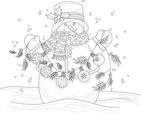 Cartoon snowman in hat and scarf with garland and winter decoration balls sketch template. Christmas vector illustration in black and white for game, decor. Children's story book, coloring paper, page