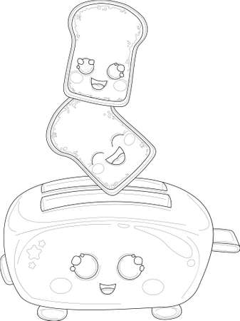 Cartoon toaster with cute bread slices sketch template. Food device vector illustration in black and white for games, background, pattern, decor. Print for fabrics. Coloring paper, page, story book