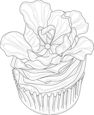 Realistic cupcake with cream and rose flower sketch template. Cartoon vector illustration in black and white for games, background, pattern, decor. Print for fabrics and other surfaces. Coloring paper
