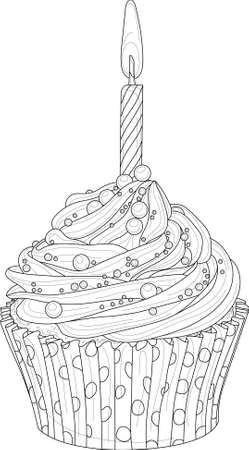 Realistic birthday cupcake with candle sketch template. Cartoon graphic vector illustration in black and white for games, background, pattern, decor. Coloring paper, page, story book. Print for fabric