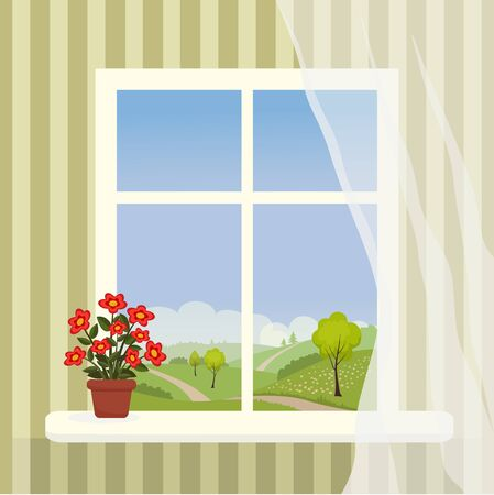 Vector illustration of window with a hilly landscape behind it and a potted flower on the windowsill