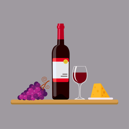 Vector illustration of red wine bottle, cheese and grapes in flat style Illustration